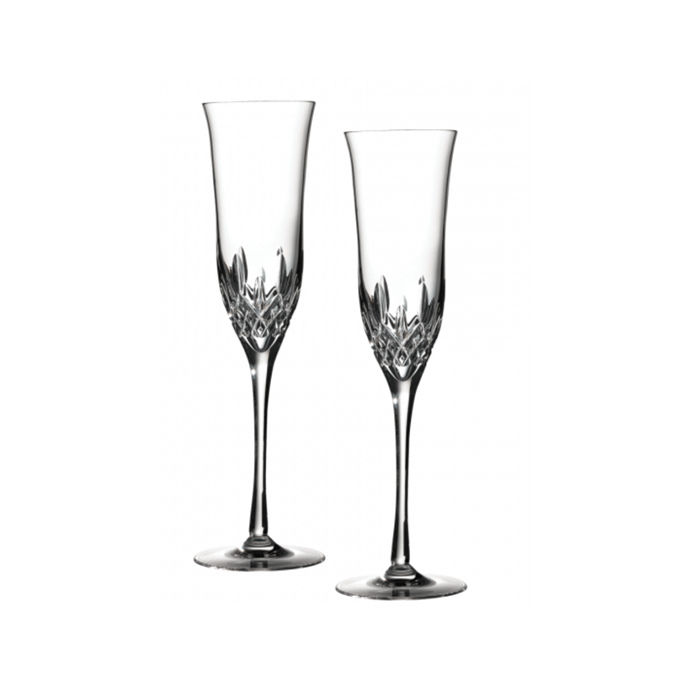 "Lismore essence flute pair, $229, [Waterford Crystal](https://www.waterfordcrystal.com.au/lismore-essence-flute-pair.html|target=""_blank""|rel=""nofollow"")"