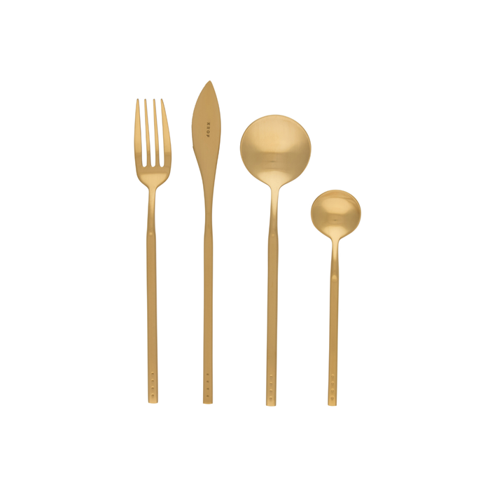 """Brushed gold cutlery set, $349/24 piece set, [Krof](https://krof.co/collections/shop-cutlery-sets/products/krof-collection-1-brushed-gold