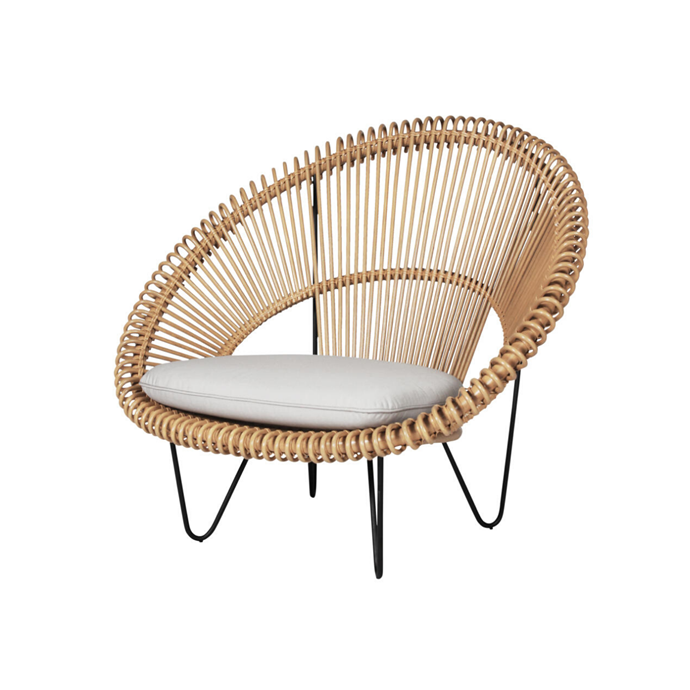 **Vincent Sheppard 'Cruz Cocoon' Chair, $825** With its curvy lines and natural textures, this rattan lounge chair epitomises coastal luxe. The high-resilience foam cushion ($265 extra) is covered in durable, solution-dyed olefin 