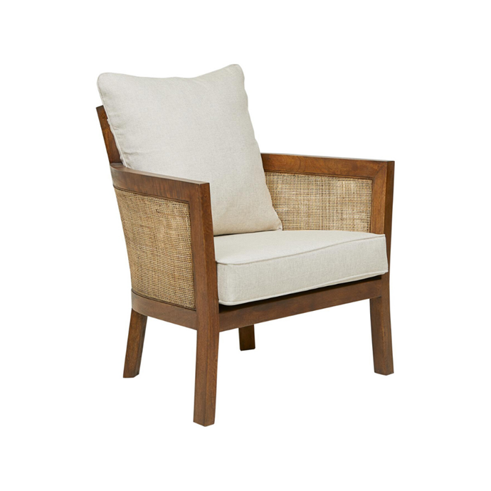 "**Adeline Curve Occasional Chair, $1490** A handsome addition to your living-room scheme, this chair has a mangowood frame and legs and rattan panelling. The fibre-filled seat and back cushions are covered in cotton-linen-acrylic blend fabric in Cream. [globewest.com.au](https://www.globewest.com.au/adeline-curve-occasional-chair|target=""_blank""