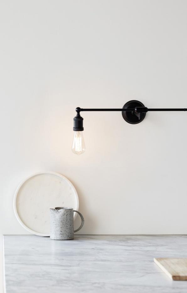 "Manor 1 Light DIY Swing Arm Wall Bracket in Matte Black $99.95, [Beacon Lighting](https://www.beaconlighting.com.au/manor-1-light-diy-swing-arm-wall-bracket-in-matte-black|target=""_blank""|rel=""nofollow"")"