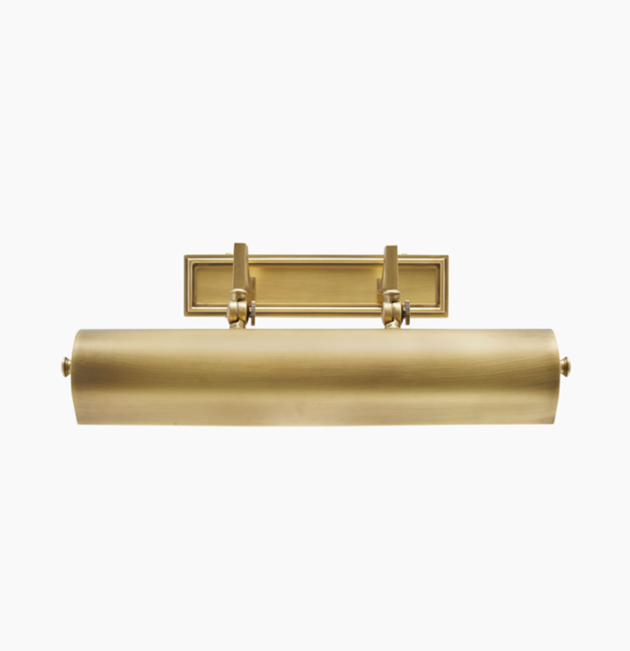 "Library Wall Sconce - Antique Brass, $835, [Coco Republic](https://www.cocorepublic.com.au/library-wall-sconce-antique-brass|target=""_blank""