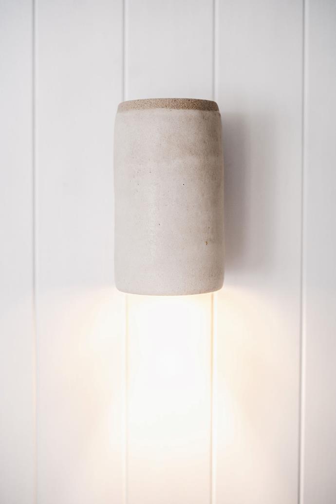 "Stone Raku Wall Light by MayClay Ceramics, $539, [Kyal & Kara](https://www.kyalandkara.com/shop/stone-raku-wall-light/|target=""_blank""|rel=""nofollow"")"