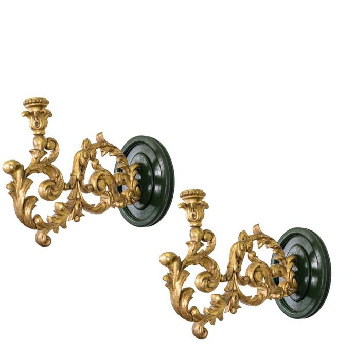 "Pair 18th Century Italian Rococo Giltwood Candle Arms, $2,200, [The Vault](https://thevaultsydney.com/products/pair-18th-century-italian-rococo-giltwood-candle-arms|target=""_blank""