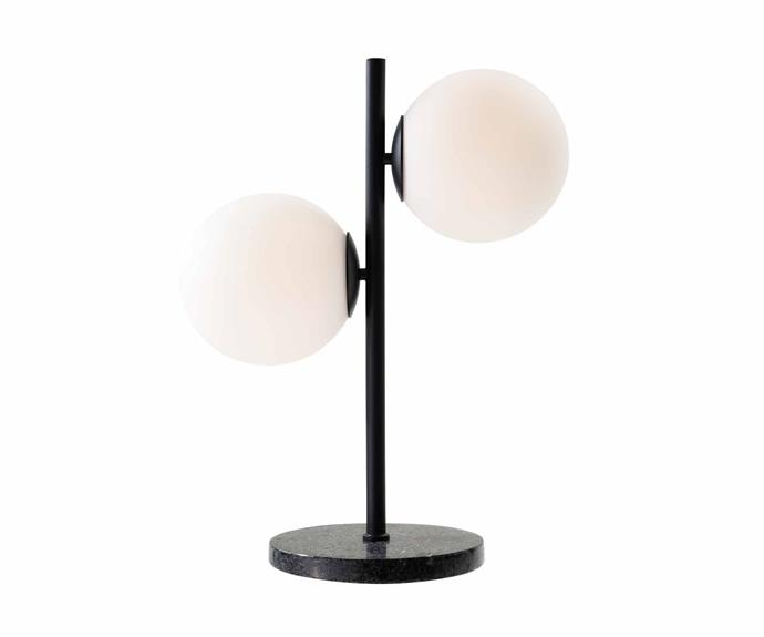 "HK Living 'Ribbed' table lamp in White Marble, [RJ Living](https://www.rjliving.com.au/|target=""_blank""