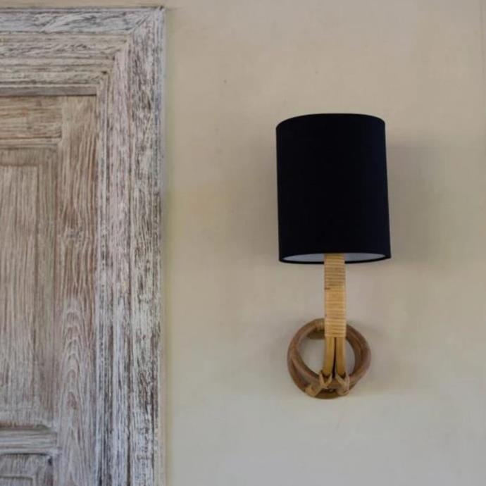 "Organic Cane Wall Sconce With Linen Shade, $399, [Lighting Collective](https://lightingcollective.com.au/collections/wall-lights-interior/products/organic-cane-wall-sconce-with-linen-shade|target=""_blank""