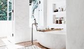 A modern rustic Mediterranean-inspired bathroom