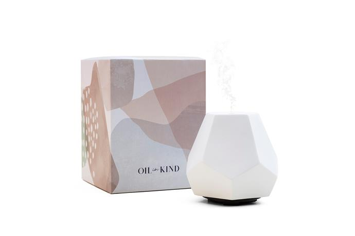 "Geo Design Diffuser in White Ceramic, $129, [Oil In Kind](https://oilinkind.com/collections/diffusers/products/copy-of-geo-design-diffuser-white-ceramic|target=""_blank""