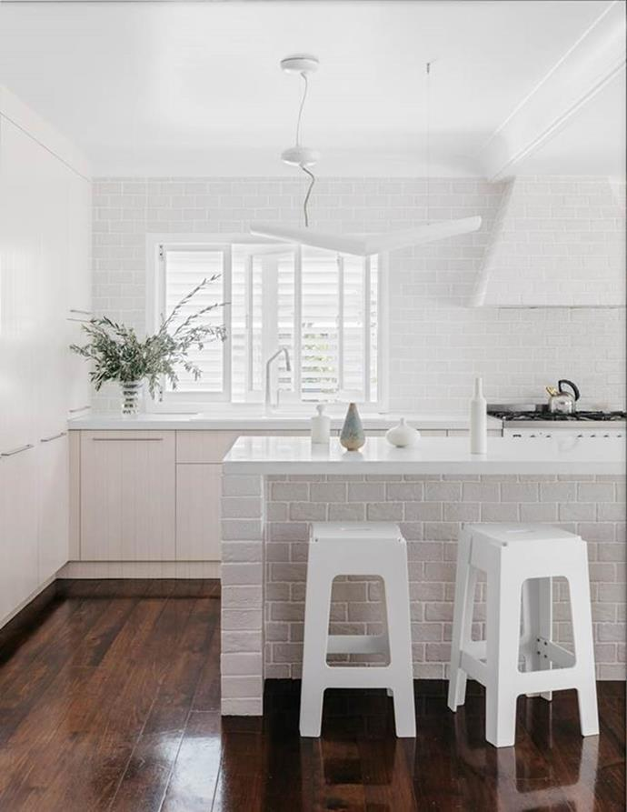 "A symphony of textures plays the lead role in this glorious [white-on-white kitchen](https://www.homestolove.com.au/all-white-kitchen-design-6370|target=""_blank""). Photo: Felix Forest 