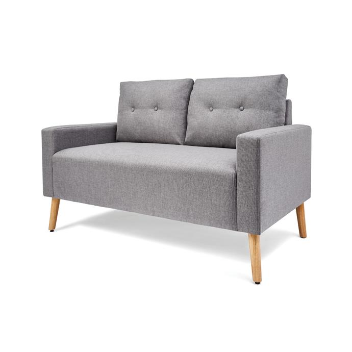 """Snuggle up on this Scandi style [2-seater sofa, $199](https://www.kmart.com.au/product/2-seater-sofa/2860933 target=""""_blank"""" rel=""""nofollow"""")"""