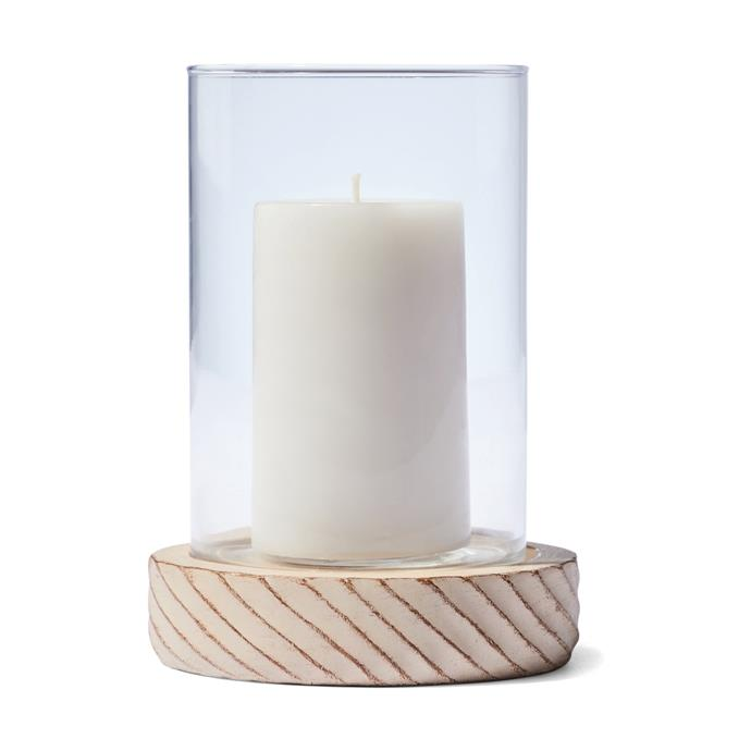 "Candles create a cosy ambience in any room. This [Wood Look Hurricane](https://www.kmart.com.au/product/wood-look-hurricane/3034839|target=""_blank""