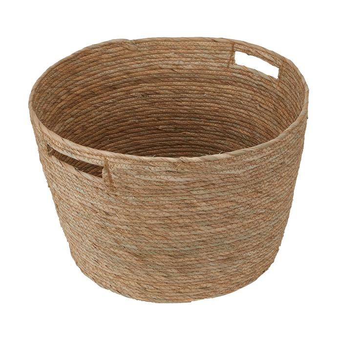 "Store your extra throws and blankets in this [Extra Large Round Basket](https://www.kmart.com.au/product/extra-large-round-basket/3042355|target=""_blank""