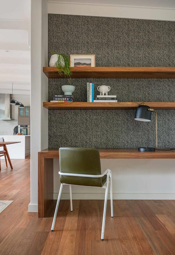 "**Study nook** ""The study used to feel dark and disconnected, but this new space off the living area is a pleasure to work in,"" says Richard. Joinery, American walnut veneer. Shelf lining, Echopanel Frequency 577, [Woven Image](https://www.wovenimage.com/