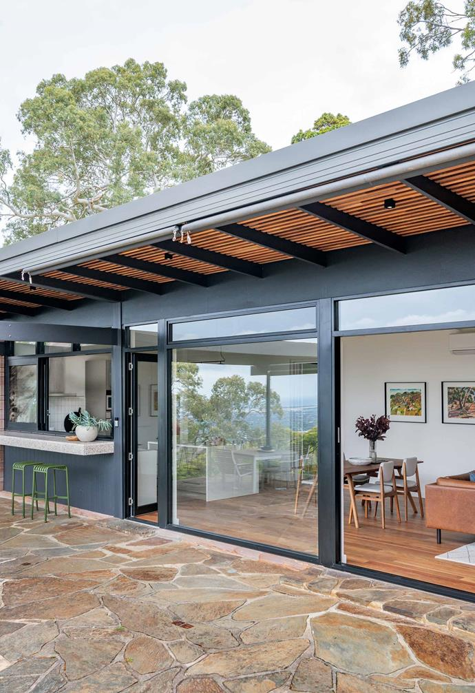 "**Outside area** The crazy paving surrounding the home is Glen Osmond bluestone and the awning is by [Australian Outdoor Living](https://www.australianoutdoorliving.com.au/|target=""_blank""