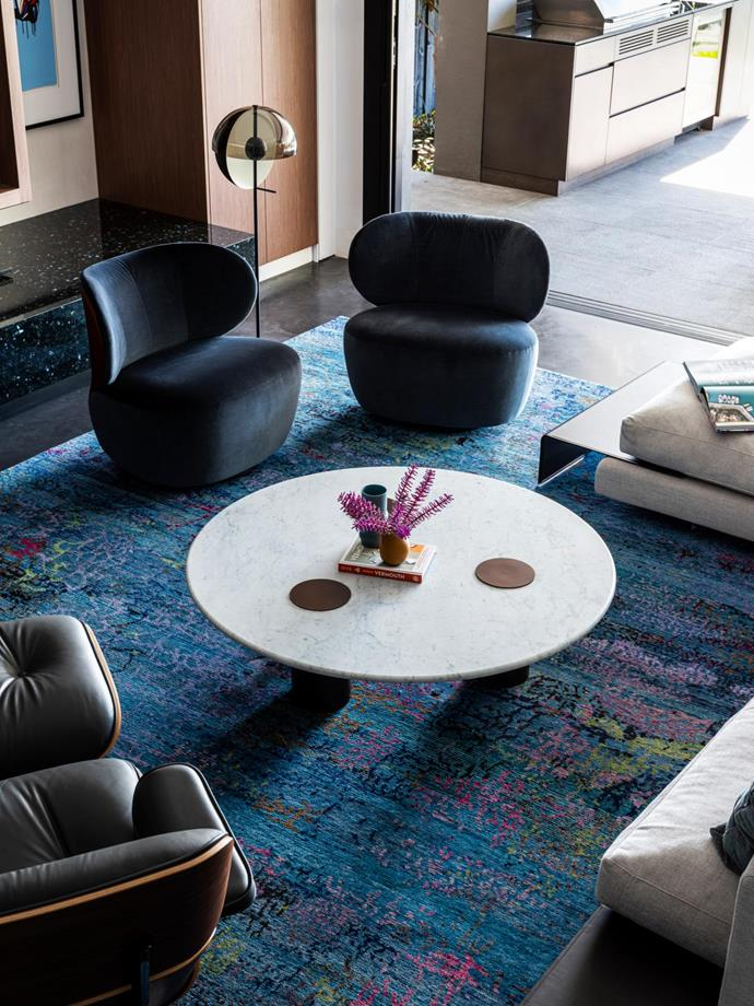 Bao chairs, Living Edge. Rug, Designer Rugs. Theia floor lamp, Marset. Coffee table, Grazia & Co.