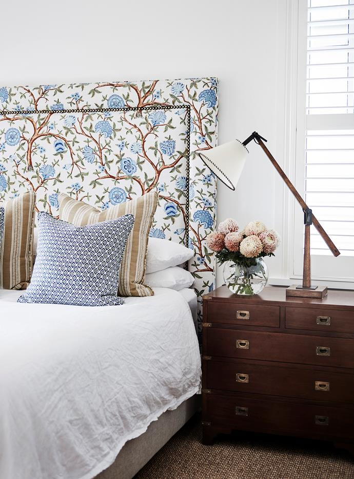 In Sidney's bedroom, the bedhead is covered in GP & J Baker Ferns.