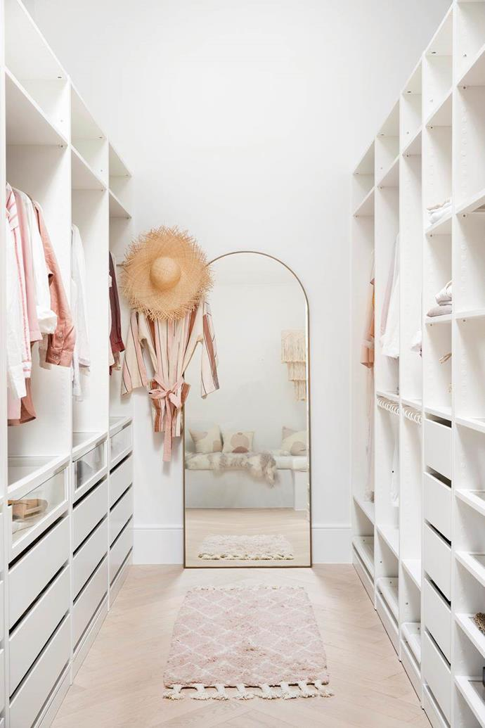 "Pop narrow shelves in where you can – they're perfect for shoes and handbags.Three Birds Renovations used cost-effective Ikea cabinetry in this [Mediterranean-inspired home and walk-in wardrobe](https://www.homestolove.com.au/three-birds-renovations-house-10-20982|target=""_blank""), with flooring laid in a herringbone pattern for a luxe touch and a gold arched mirror to add the illusion of more space. Photo: Chris Warnes, Maree Homer 