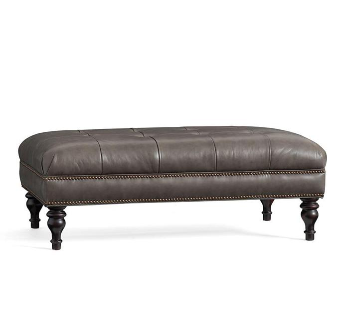 "Martin Tufted Leather Ottoman, $1,339, [Pottery Barn](https://www.potterybarn.com.au/martin-tufted-leather-ottoman|target=""_blank""