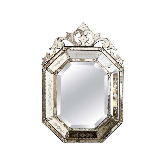 "Octagonal Venetian mirror, $8557.66, [1stdibs](https://www.1stdibs.com/furniture/mirrors/wall-mirrors/octagonal-venetian-mirror/id-f_14614621/|target=""_blank""|rel=""nofollow"")"