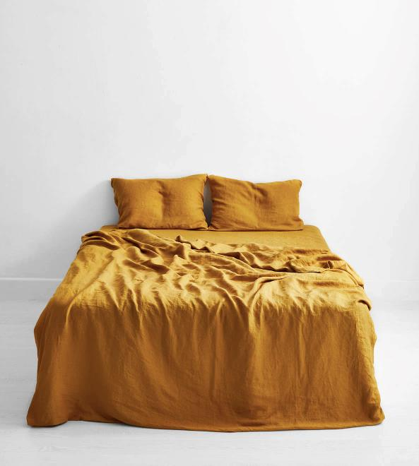 """100% Flax Linen Queen Duvet Cover in Turmeric, $170, [Bed Threads](https://fave.co/2YuWSl4