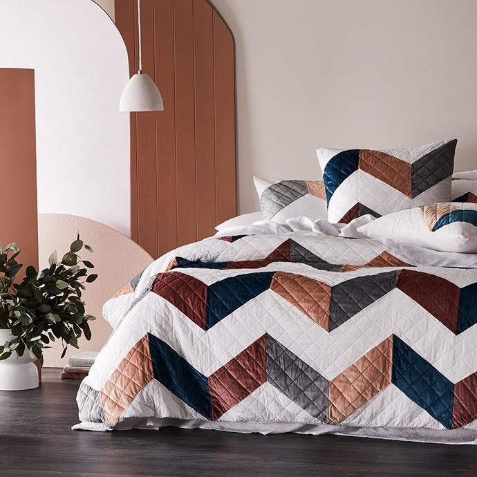 """Home Republic Rebecca Judd Loves Anais Velvet Quilted Quilt Cover, $219.99, [Adairs](https://fave.co/2Vhglnw