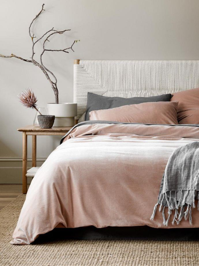 """Luxury Velvet Queen Quilt Cover in Rosewater, $299, [Aura Home](https://fave.co/3eIw8Di