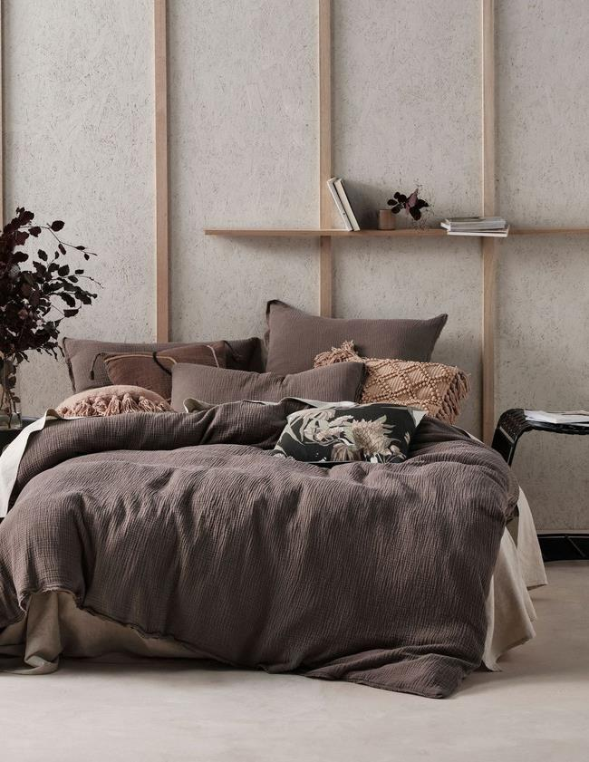 "Linen House Elysian Queen Quilt Cover Set in Mocha, $179.99, [Myer](https://www.myer.com.au/p/linen-house-elysian-quilt-cover-set-773532010-773531470-1?colour=Mocha&size=Queen|target=""_blank""|rel=""nofollow"")"