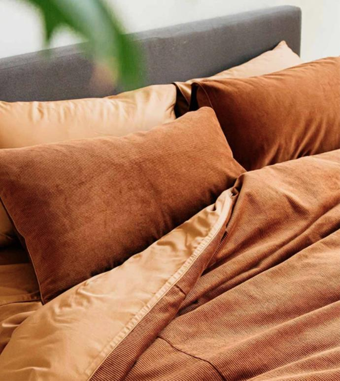 """Darcy Corduroy Queen Quilt Cover in Terracotta, $180, [The Sheet Society](https://www.thesheetsociety.com.au/collections/quilt-covers/products/corduroy-quilt-cover-terracotta?options=1584715202653.15463199539293.1