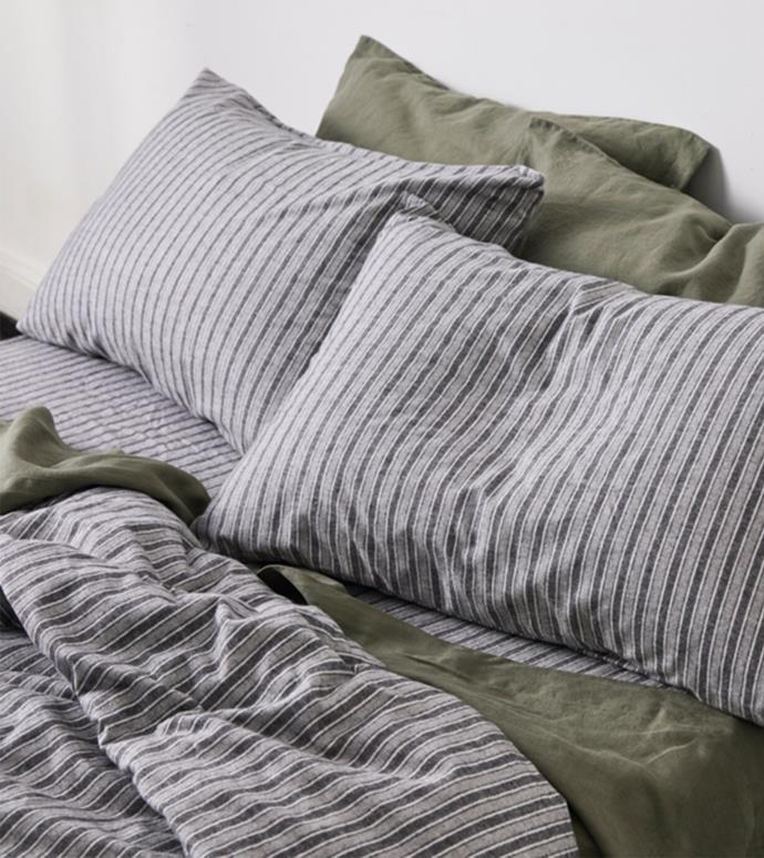 "100% Cotton Flannel Duvet Cover in Stripe, $240 (Queen), [In Bed](https://inbedstore.com/collections/duvet-covers/products/100-cotton-flannel-duvet-cover-in-stripe?variant=32323557556304|target=""_blank""|rel=""nofollow"")"