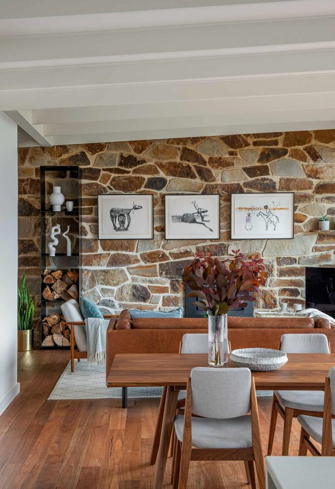 "This [mid-century modern stone cottage in the Adelaide hills](https://www.homestolove.com.au/mid-century-modern-home-adelaide-hills-21553|target=""_blank"") was lovingly revamped, with the exposed [stone feature wall](https://www.homestolove.com.au/stone-feature-walls-21461