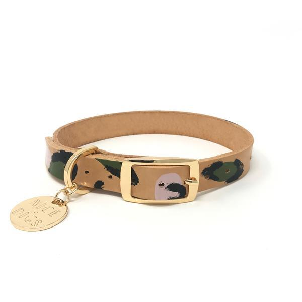"Animal leather dog collar in Evergreen, from $43, [Nice Digs](https://www.nicedigs.com.au/collections/all-products/products/animal-leather-dog-collar-evergreen|target=""_blank""