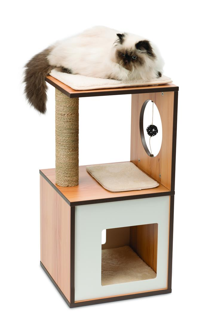 "Catit Vesper Cat Scratcher Box (Small) in Walnut, $149.99, [Petbarn](https://www.petbarn.com.au/vesper-v-box-small-cat-scratcher-walnut-73cm|target=""_blank""