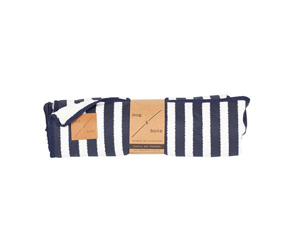"Mog and Bone Fleece Blanket in Navy Hamptons Stripe, $50.96, [Pet Circle](https://www.petcircle.com.au/product/mog-and-bone-fleece-blanket-navy-hamptons-stripe/dam4426|target=""_blank""