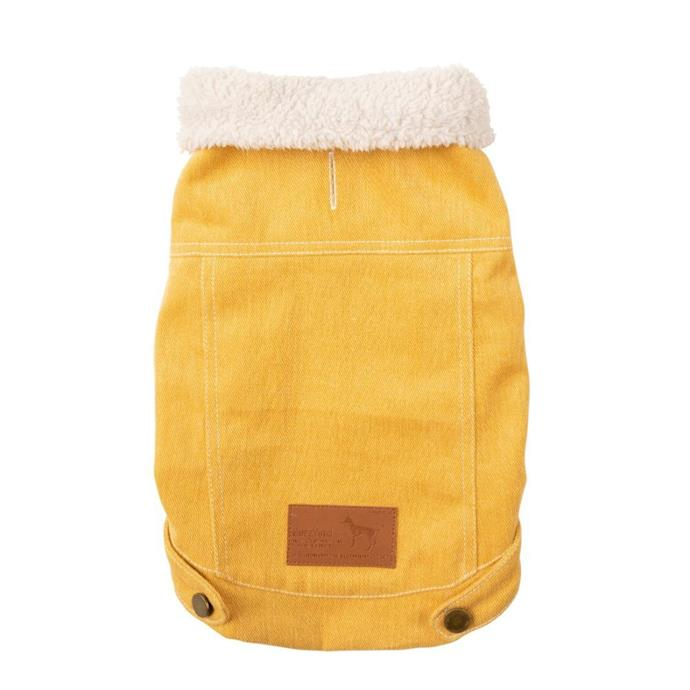"FuzzYard Rebel Mustard Dog Jacket, from $59.99, [Pet House](https://www.pethouse.com.au/fuzzyard-rebel-mustard-dog-jacket|target=""_blank""