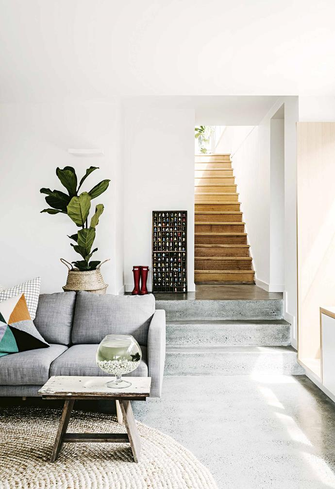 """On reflection though, there's little that Rebecca would change. """"At times, there are things I wished we'd gone ahead with – like the cabinetry we'd planned in the lower lounge, and the timber sliding doors. But the space works so well and we adore it."""" Standing on the [sun-filled deck](https://www.homestolove.com.au/outdoor-deck-tips-14347 target=""""_blank""""), with its views to Hobart and the Derwent River, it's easy to see why.<br><br>**Lower lounge** The 'Studio' sofa from [Freedom](https://www.freedom.com.au/ target=""""_blank"""" rel=""""nofollow""""), a raw-hewn table and woven rug bring a tactile warmth to this contemporary space. The stairs have been maintained from the original cottage and form an apt passageway between the old and the new."""