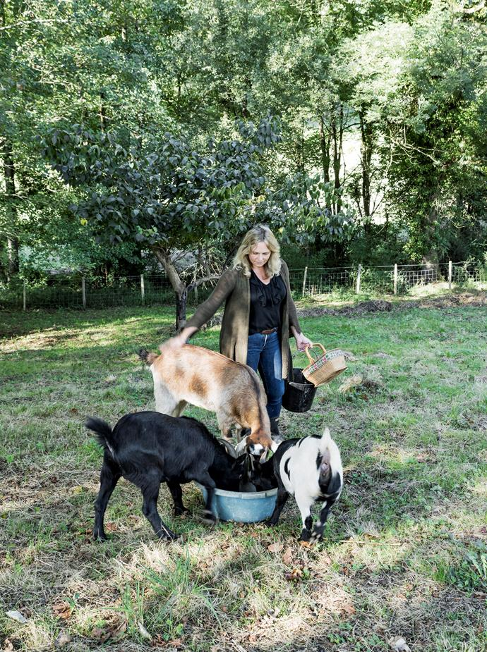 Sara and her goats.