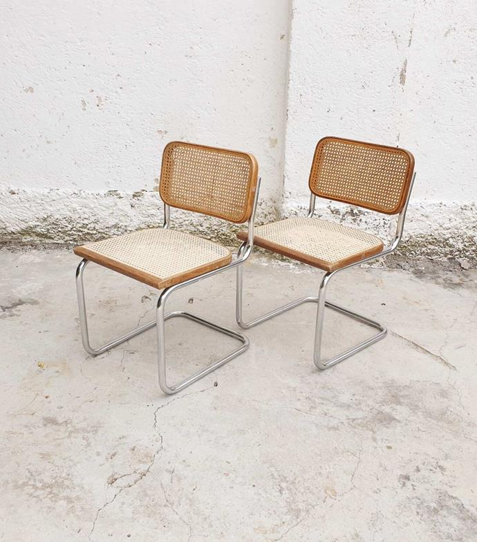 """Pair of Mid Century Modern Cesca Chairs, $991.11, [Etsy](https://www.etsy.com/au/listing/804220416/pair-of-mid-century-modern-cesca-chairs?ga_order=most_relevant&ga_search_type=all&ga_view_type=gallery&ga_search_query=cesca+chair&ref=sr_gallery-1-6&organic_search_click=1&cns=1 target=""""_blank"""" rel=""""nofollow"""")"""
