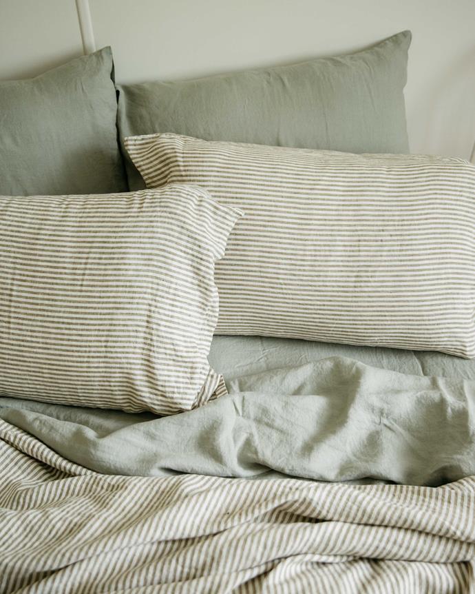 "Queen Duvet Cover in Olive Stripes, $270, [Carlotta + Gee](https://www.carlottaandgee.com/collections/french-linen-duvet-covers/products/duvet-cover-in-olive-stripes|target=""_blank""|rel=""nofollow"")"