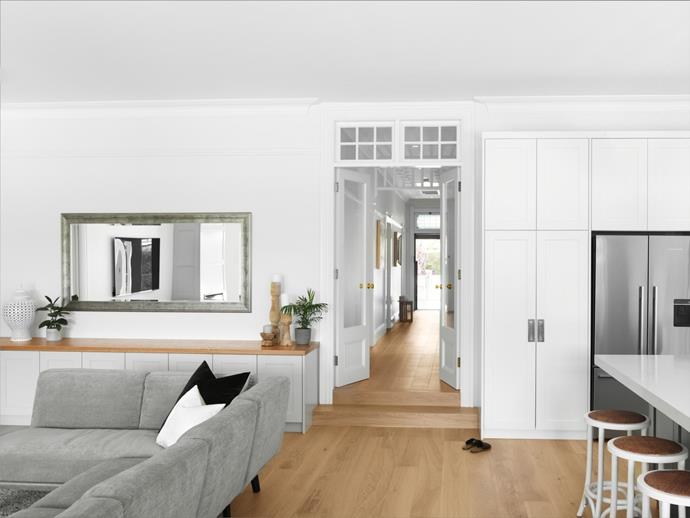 Joinery by Banksia Joinery (throughout). Architectural hardware, Hardware Box. Fridge, Fisher & Paykel. Neo sofa, King Living. Champagne PurePlank engineered-timber flooring, Havwoods (throughout).
