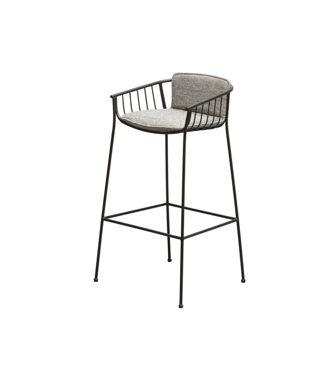 "Tom Fereday SP01 Jeanette Bar Stool, $1115, [Space Furniture](https://www.spacefurniture.com.au/products/sp01-jeanette-bar-stool-high-black-fabric-cat-outdoor|target=""_blank""
