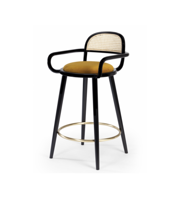 "Luc bar stool, $1845, [James Said](https://www.jamessaid.com.au/luc-bar-stool-multiple-colours-finishes.html|target=""_blank""