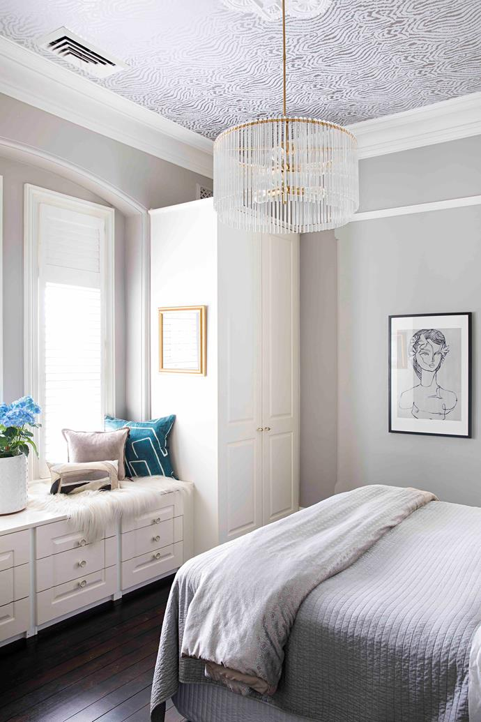 """""""Having this space to ourselves is like living in a hotel room,"""" says Sarah of her bedroom, robe and ensuite."""