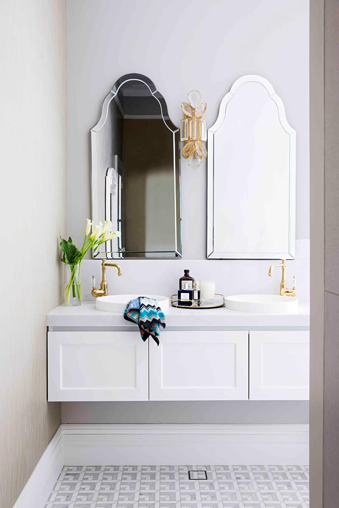 """Part of the master suite, behind the walk-in robe, the ensuite is Sarah's breathing space. """"Walking into our ensuite is the thing I smile about most daily,"""" she says of its soothing quality."""