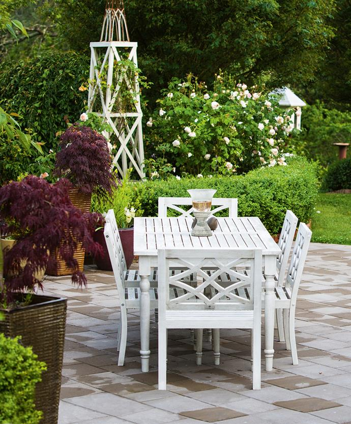 The couple's design has attracted open garden crowds who appreciate its sense of romance: terraces, soft sweeps of roses and lavender, and stoic bodies of maples, cherries and wisterias. Here, guests can admire a planting of David Austin 'Sweet Juliet' roses, hedged with English Box. 'Pat Austin' roses climb the white frame and weeping maples are planted in pots to the left.