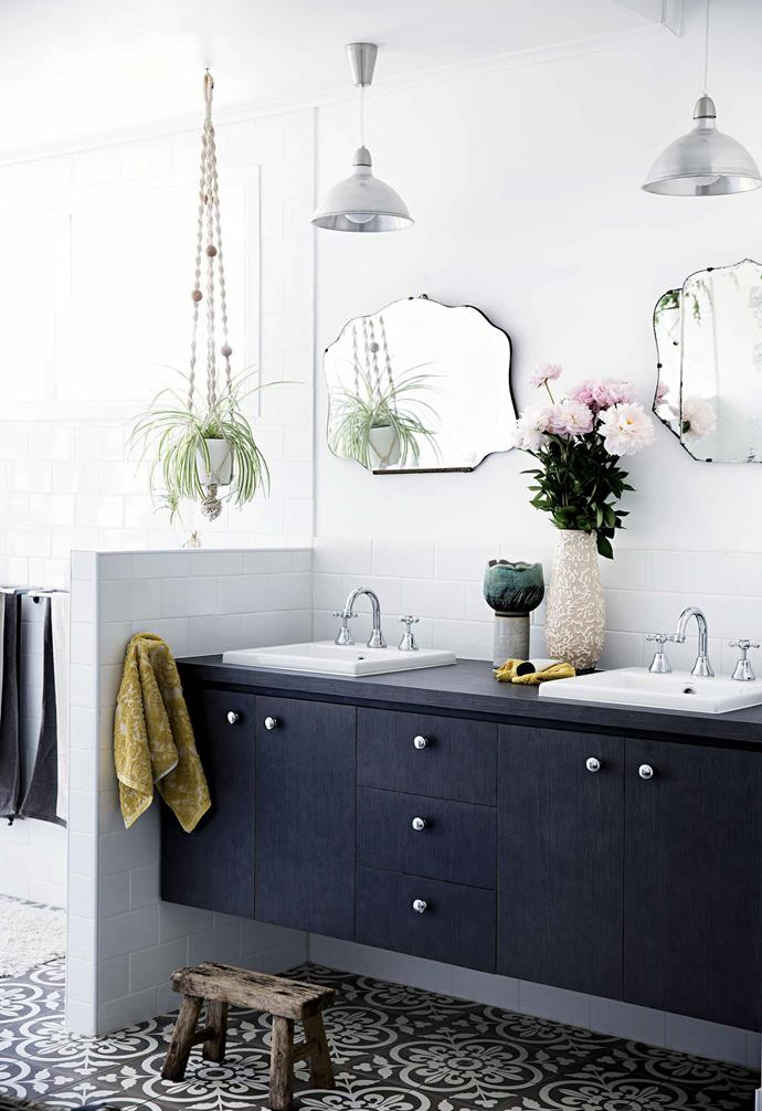"""**Mix and match different styles**<br><br>Bathrooms are functional but are also rooms to be enjoyed. [Adding personalised touches](https://www.homestolove.com.au/bathroom-decorating-ideas-21524
