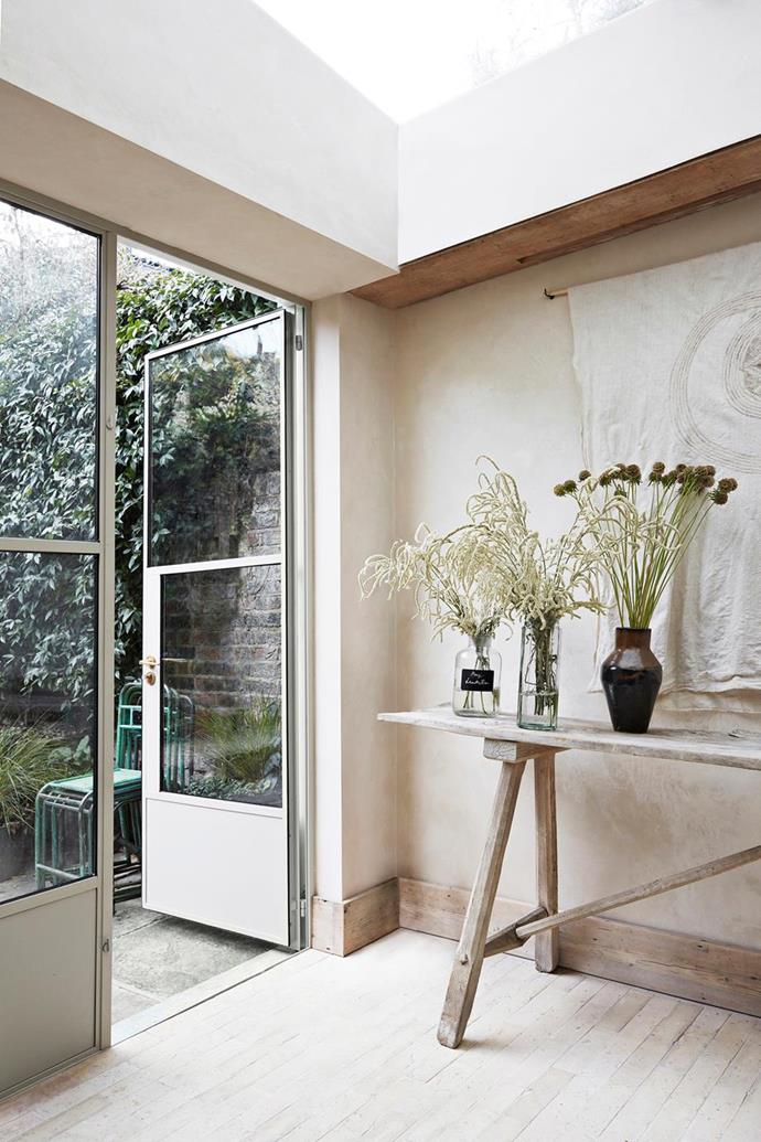 "Walls that have a [plaster- or lime wash-style finish](https://www.homestolove.com.au/tadelakt-plaster-21174|target=""_blank"") work well as they provide a chalky surface that adds texture to a room. This [serene London townhouse](https://www.homestolove.com.au/serene-townhouse-london-21516