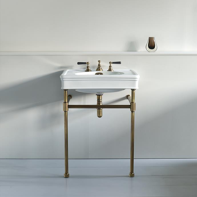 "Lonsdale - 550mm basin on basin stand in polished brass, $3,050, [The English Tapware Company](https://www.englishtapware.com.au/products/WM-LONS-550BS/|target=""_blank""