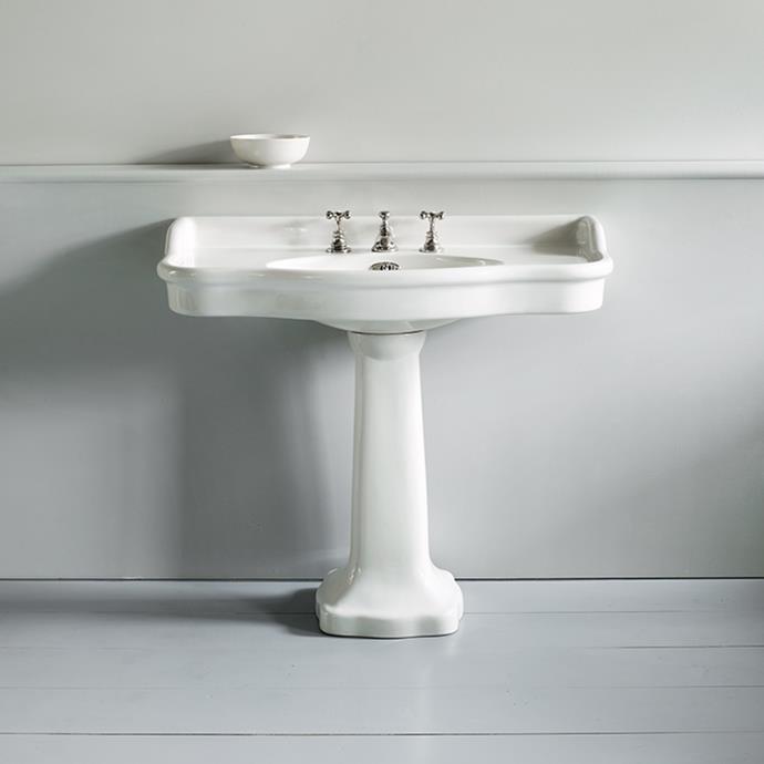 "Paris - 1020mm basin on pedestal, $2,950, [The English Tapware Company](https://www.englishtapware.com.au/products/WM-PARIS-1020PED/|target=""_blank""|rel=""nofollow"")"