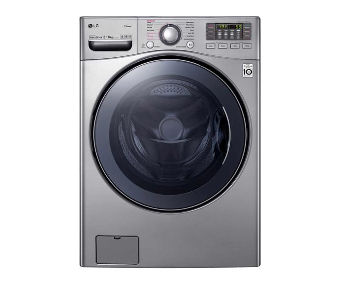 "LG 15kg/8kg Front Load Washer Dryer Combo with True Steam, $2599, [LG Australia](https://www.lg.com/au/washing-machines/lg-WDC1215HSVE#none|target=""_blank""