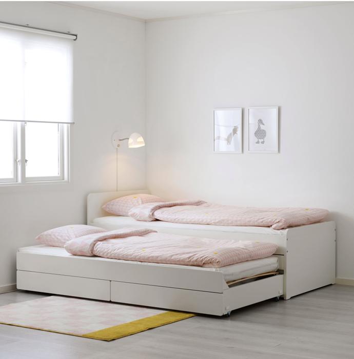"""SLÄKT Bed frame with underbed and storage, $389, [IKEA](https://www.ikea.com/au/en/p/slaekt-bed-frame-with-underbed-and-storage-white-s39239449/ target=""""_blank"""" rel=""""nofollow"""")"""